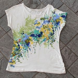 Apt 9 shirt with watercolor print with sparkles